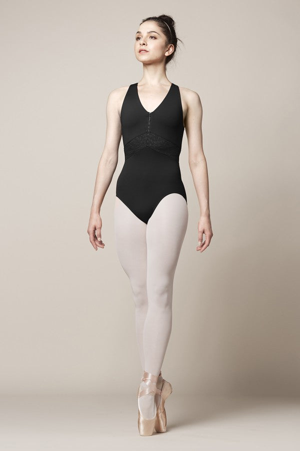 Mirella V Zipper Mesh X Back Leotard