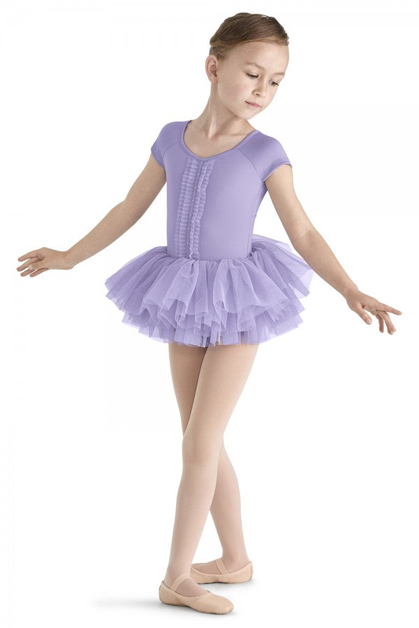 Mirella Pleated Tulle Front Cap Sleeve Tutu Leotard