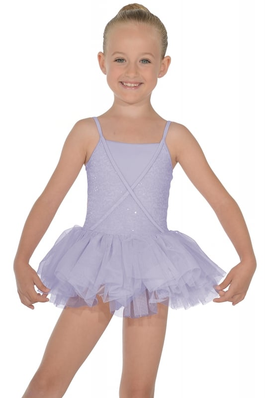 Mirella Sequin Tulle Mock Wrap Tutu Leotard
