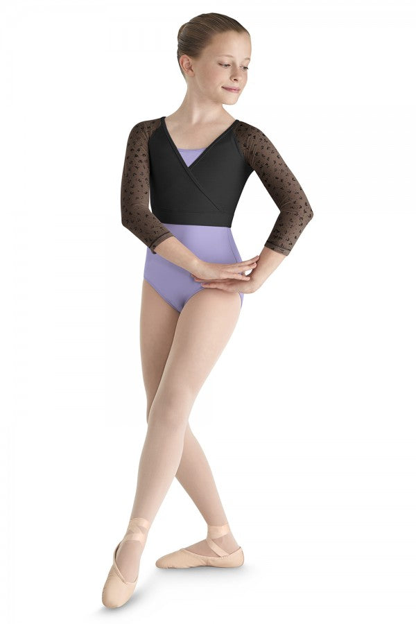 Bloch Bow Flock Sleeve Mock Wrap Top