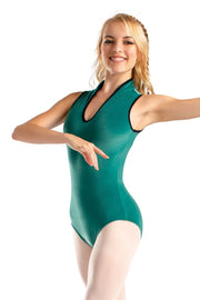 So Danca Deep V Neck Velour Leotard