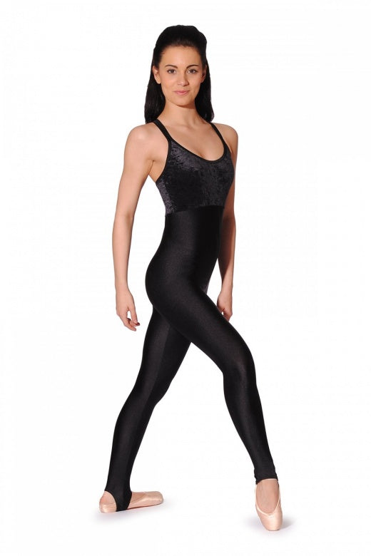 Roch Valley Navy Double X Strap Velour & Nylon Lycra Catsuit