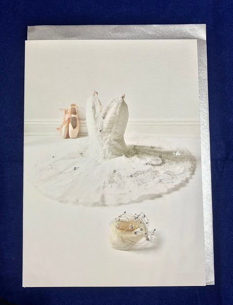 Swan Lake White Swan Hand Finished Card