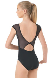 Bloch Loop Tape & Cord Front Cap Sleeve Leotard