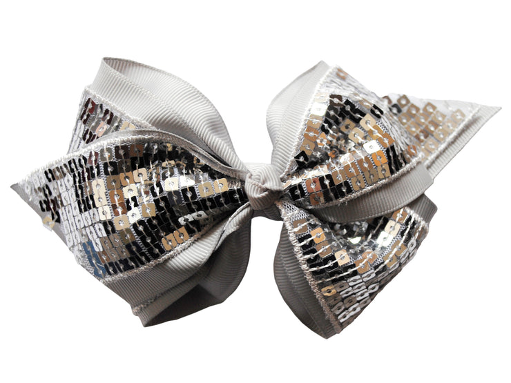 Candy Bows Silver Boutique Cheer Bow Clip