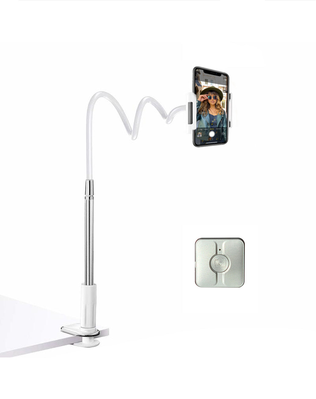 Silver Flexible Head Phone Stand + Clixy Set