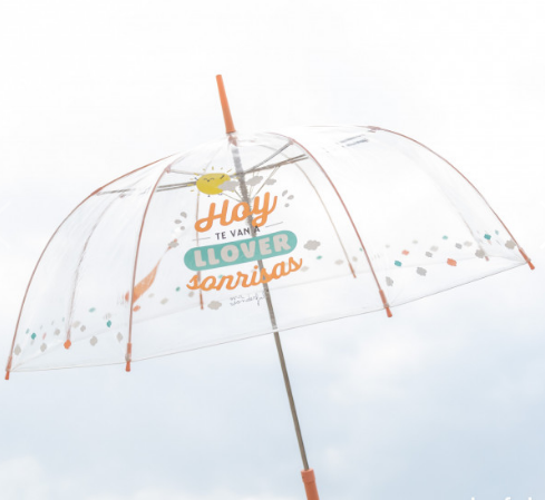 PARAGUAS GRANDE TRANSPARENTE MR. WONDERFUL - HOY TE VAN A LLOVER SONRISAS