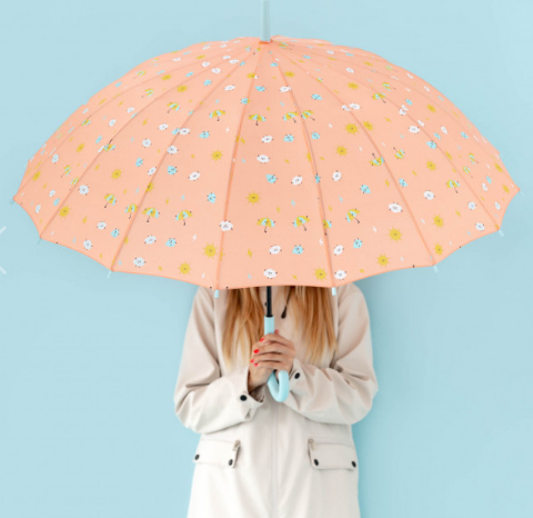 PARAGUAS GRANDE CORAL MR. WONDERFUL - ESTAMPADO GOTAS