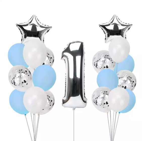 Blue and White Balloon Bouquet