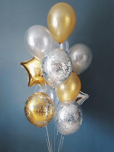 Gold and Silver Balloon Bouquet
