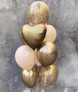 Peach and Gold Balloon Bouquet