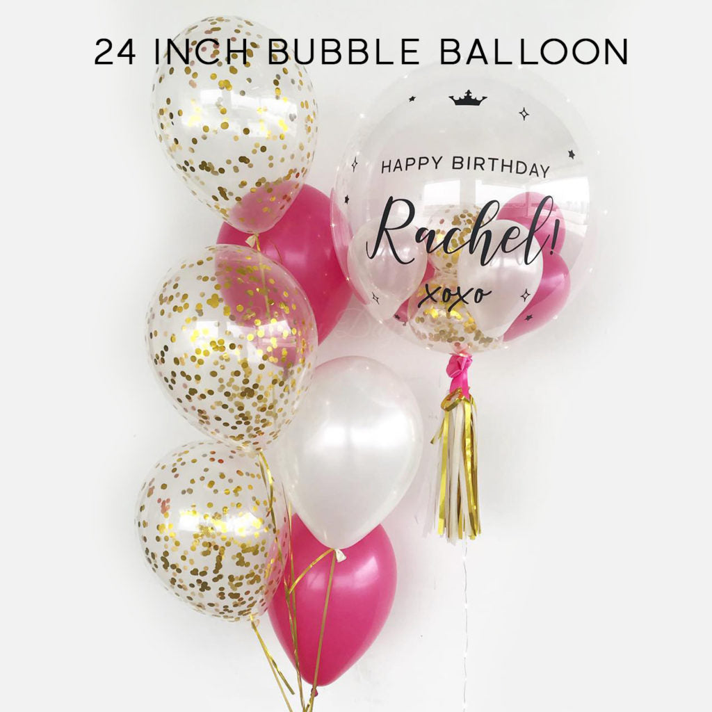 Customized bubble balloon- Fuchsia pink and Gold
