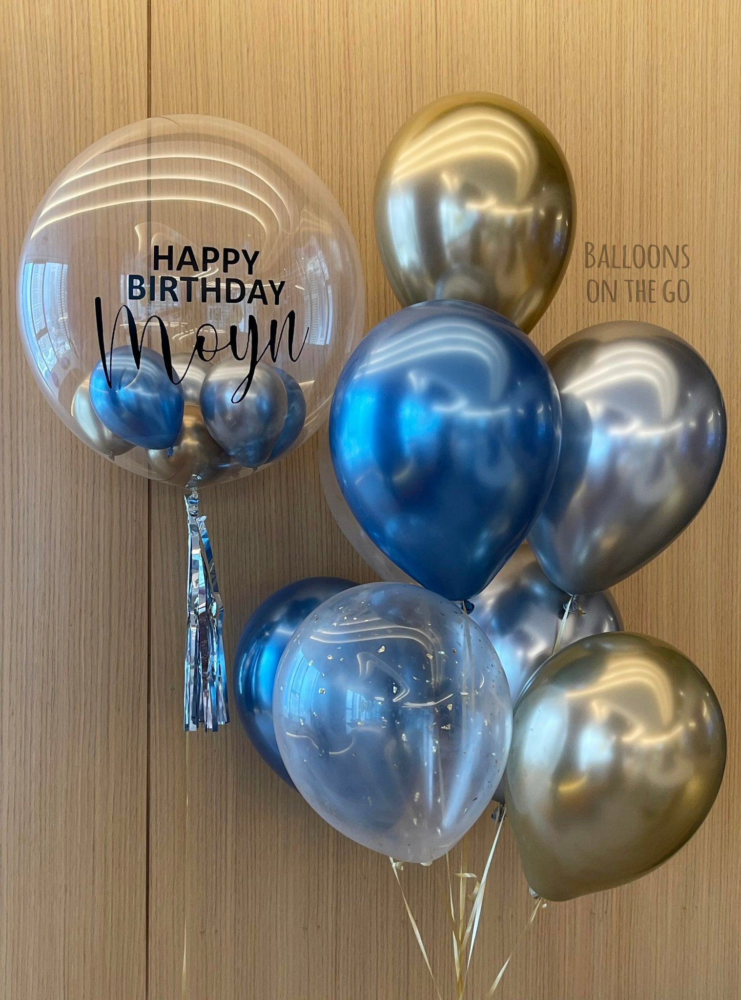 Customized bubble balloon with bouquet- Blue, gold, silver