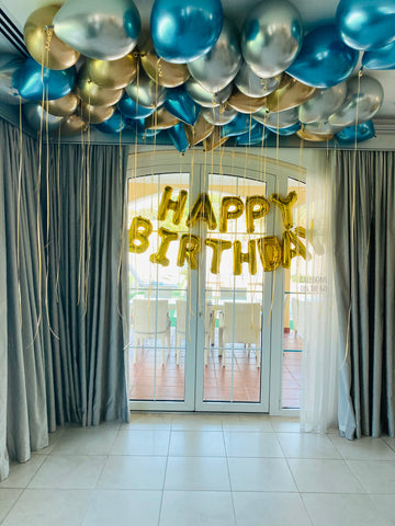 50 Chrome ceiling balloons and Happy Birthday