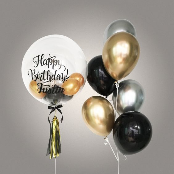 Customized Bubble balloon - Black, Gold and Silver Chrome