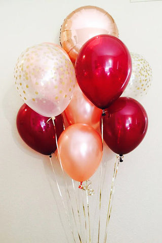Red and Peach Balloon Bouquet