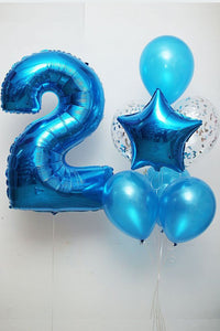 Sapphire blue with number Balloon Bouquet