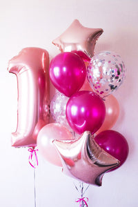 Think Pink with Number Balloon Bouquet