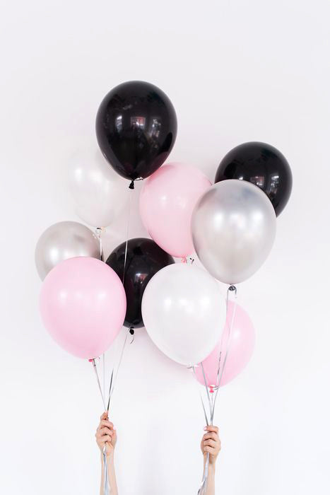 10X Balloon Bouquet in Black White Pink Color