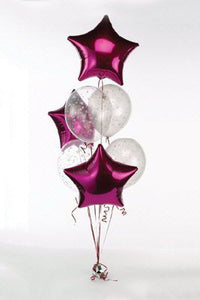 Burgundy Stars with Confetti Balloons Bouquet