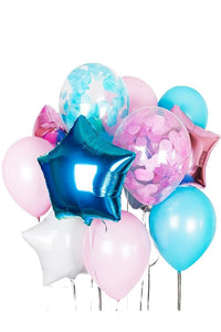 Blue and Pink with Confetti Balloon Bouquet