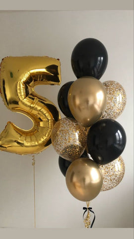 Black and Gold Balloon Bouquet