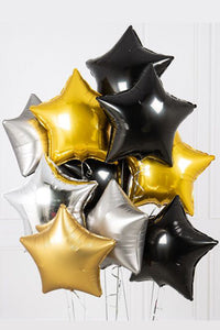 Gold, Silver and Black foil stars