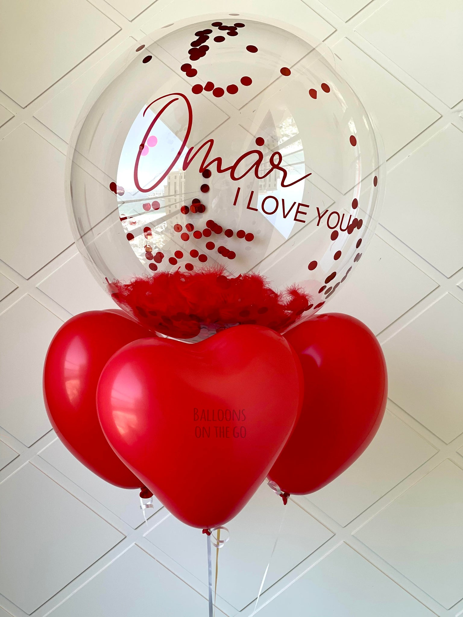 Customized bubble balloon with feathers and confetti- Valentine's Special
