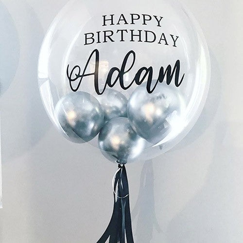 Customized Bubble Balloon -Black and Silver