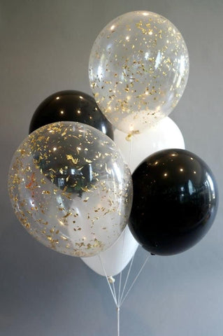 Black and white with Confetti Balloon bouquet