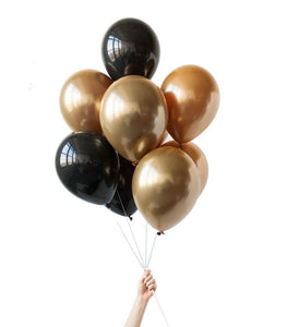 Black with Gold chrome Balloon Bouquet