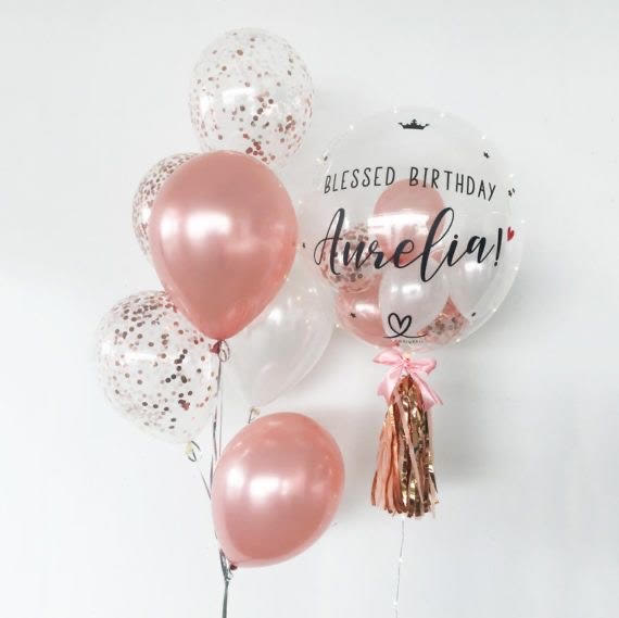Customized bubble Balloon Bouquet- Rose Gold