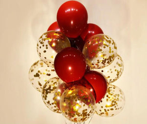 Red and Gold Chrome Confetti Balloon Valentine Bouquet: