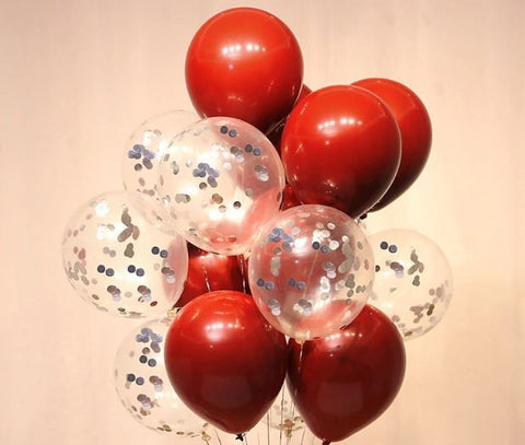 Red and Silver Chrome Confetti Balloon Valentine Bouquet: