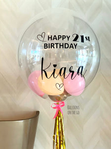 Customized bubble balloon- pink, peach and gold