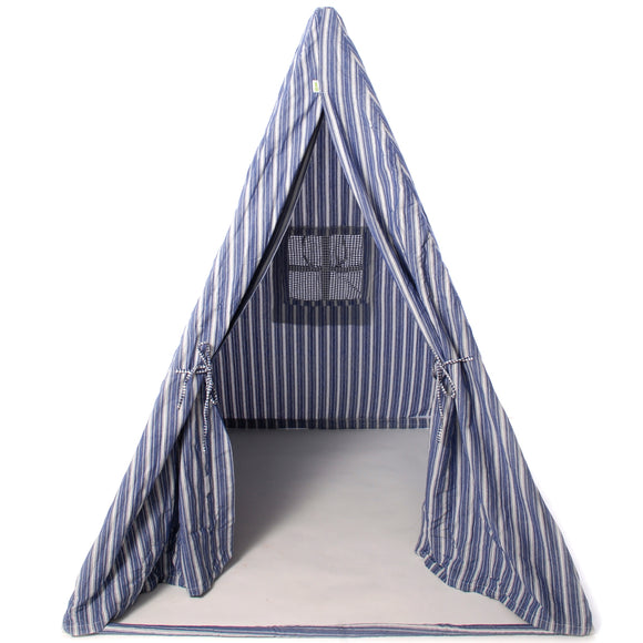 Multi stripe wigwam teepee for children in blue