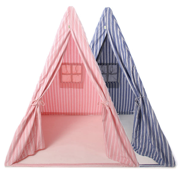 The rose and navy teepee side by side