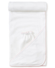 Load image into Gallery viewer, White and Pink Dot Hooded Towel w/ Mitt
