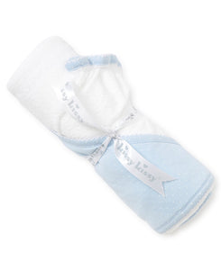 Blue and White Dot Hooded Towel w/ Mitt