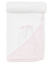 Load image into Gallery viewer, Pink and White Dot Hooded Towel w/ Mitt