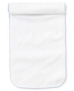 White and Blue Dot Burp Cloth