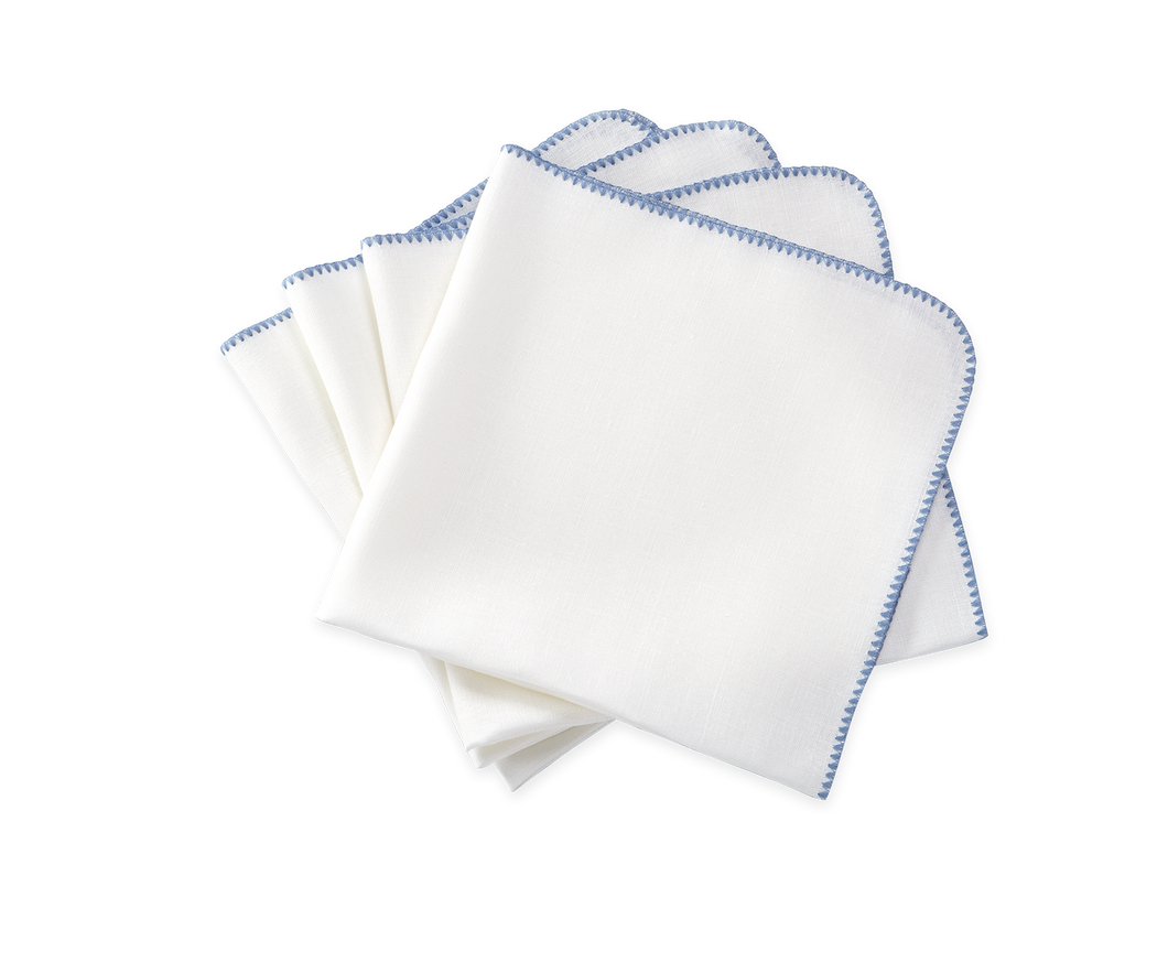 Calypso Napkin White/ Lake- Set of 4