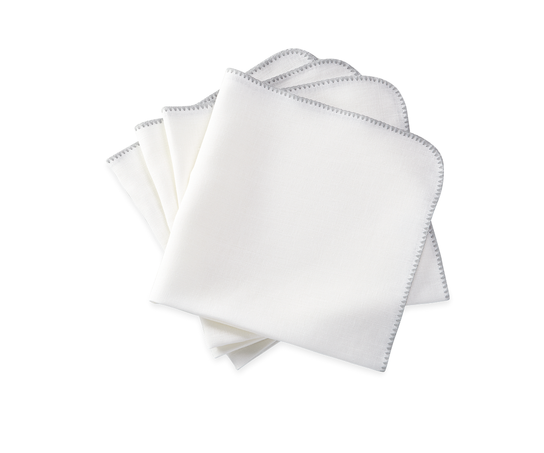 Calypso Napkin White/ Silver- Set of 4
