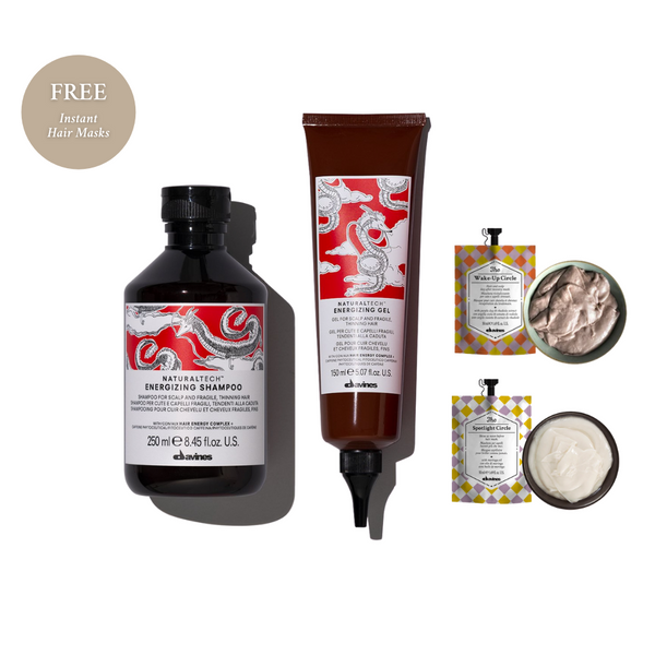 Davines Energizing Shampoo + Energizing Gel with FREE Instant Hair Masks