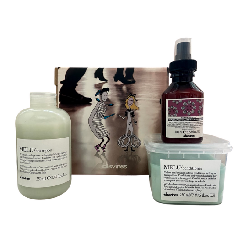 Davines Melu Shampoo + Melu Conditioner + Replumping Hair Filler Superactive