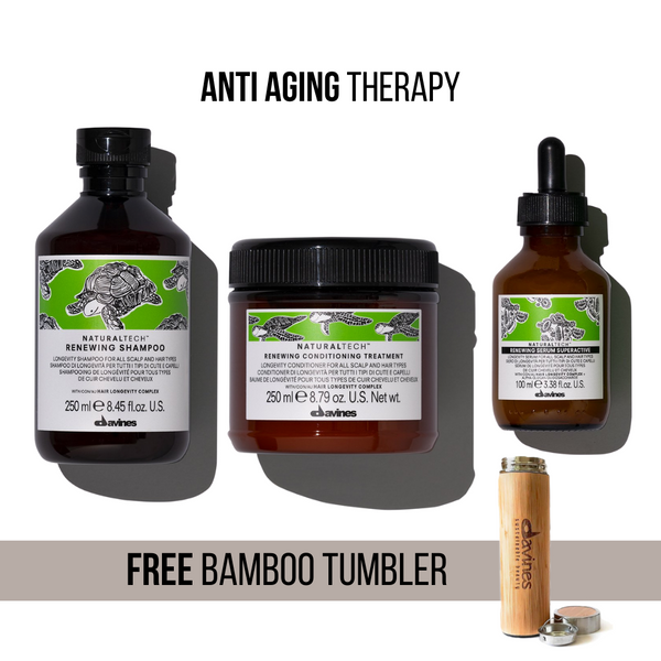 Anti-Aging Therapy I Davines NaturalTech Renewing Shampoo + Conditioning Treatment + Superactive + Free Sustainable Planet Davines Bamboo Tumbler