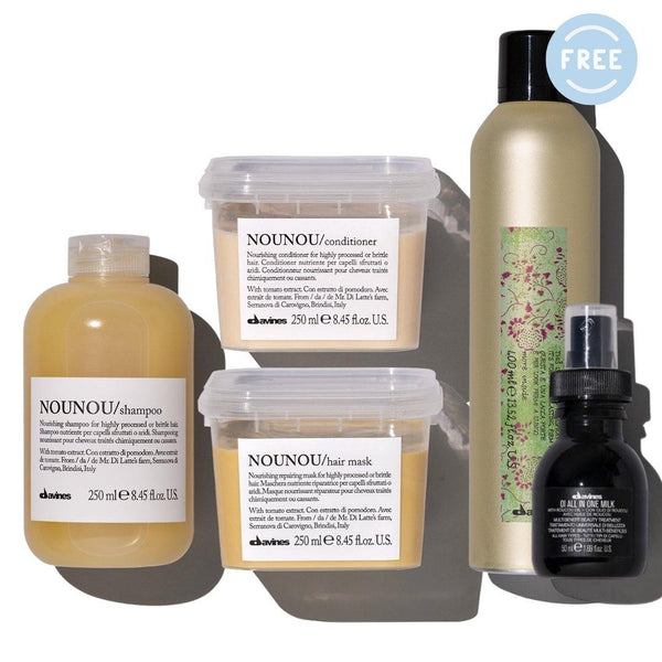 Davines NOUNOU Shampoo + Conditioner + Hair Mask I Free OI Milk 50ml + More Inside Strong Hairspray - DAVINES I SUSTAINABLE BEAUTY