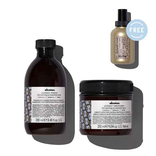 Davines ALCHEMIC Shampoo + Conditioner in TOBACCO