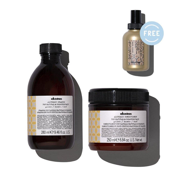 Davines ALCHEMIC Shampoo + Conditioner in GOLDEN