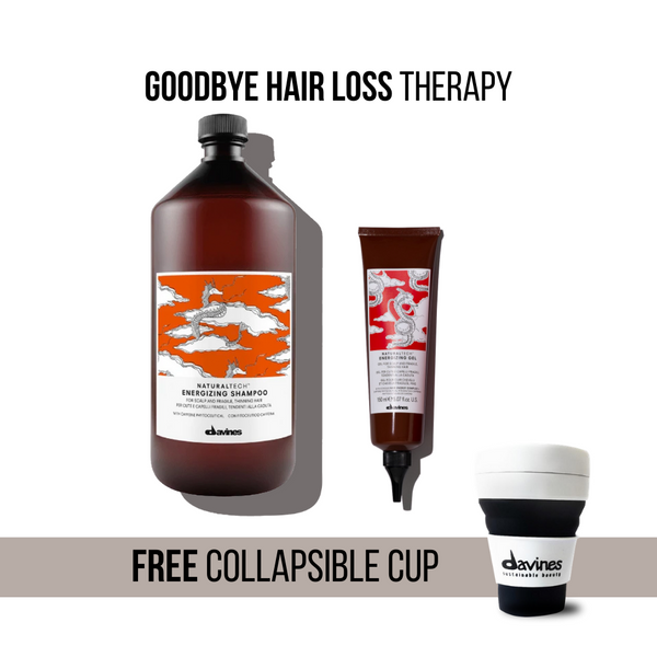 Davines NaturalTech Energizing Shampoo 1000ml + Gel Set + Free Collapsible Cup